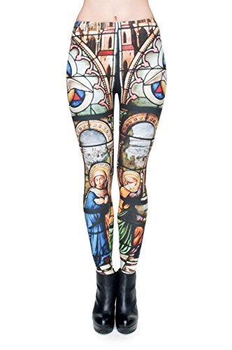 kukubird Printed Patterns Women's Yoga Leggings Gym Fitness Running Pilates Tights Skinny Pants Size 6-10 Stretchable-Cathedral