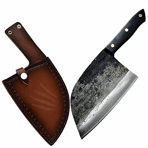 OYEZI Metzger - Cuchillo de cocina forjado hecho a mano, de acero al carbono, para exteriores, con mango completo y funda