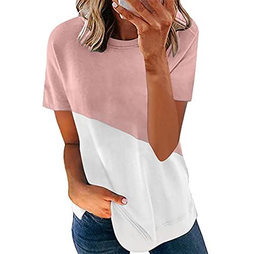 Tops para Mujer Camisetas de Verano de Manga Corta para Mujer Camisetas holgadas Informales de Manga Corta...