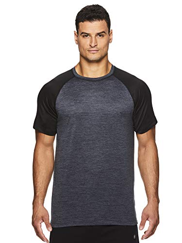 Gaiam Men's Raglan Crew Neck T Shirt - Short Sleeve Yoga & Workout Top - Inhale Ebony Heather, Large