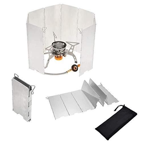Voarge Outdoor-Aluminium-WindschutzFaltbar, Windschutz Windschutzscheibe Windscreen mit 8-Lamellen aus Aluminium Outdoor für Campingkocher, Gaskocher