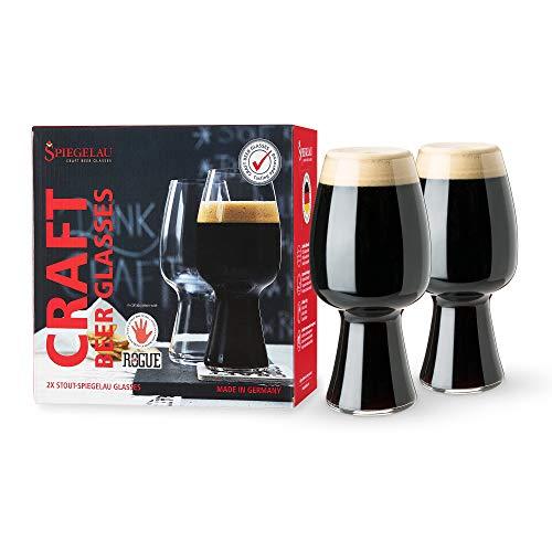 Spiegelau Craft Beer Stout Glass, Set of 2, European-Made Lead-Free Crystal, Modern Beer Glasses, Dishwasher Safe, Professional Quality Beer Pint Glass Gift Set, 21 oz