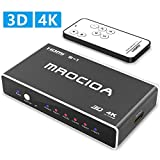 Hdmi Switch 4k, mrocioa 5 in 1 Out 4K and 3D Hdmi Switcher Box with Remote, The 5 Port Hdmi Splitter for Ps4 / Xbox One/Fire TV/Apple TV/Sky Box/Stb/DVD/Laptop/Blue ray.