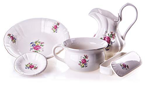 Antik 2000 Altes Waschset aus Keramik mit rosa Blumenmuster Vintage Krug, Waschschüssel, Nachttopf, Seifenschale, und Kammschale