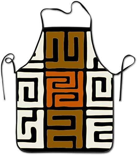 DUTRIX Delantal con Pechera Ajustable Delantal Cosido, Delantales de Cocina de Cocina geométricos inspirados en Tela Kuba de Colores terrestres para Mujeres Hombres Chef,