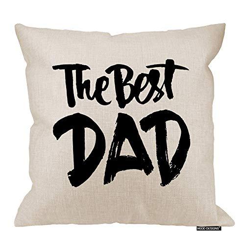 QUEMIN Funda de cojín para el día del padre, diseño con texto en inglés 'Best Dad' (45,7 x 45,7 cm)