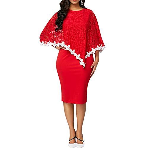 Elibeauty Damenkleid in Übergröße, Rundhalsausschnitt, halbe Ärmel, elegant, knielang, Spitzenkleid, zweiteilig, Hochzeitskleid, Brautmutter, RD-XL