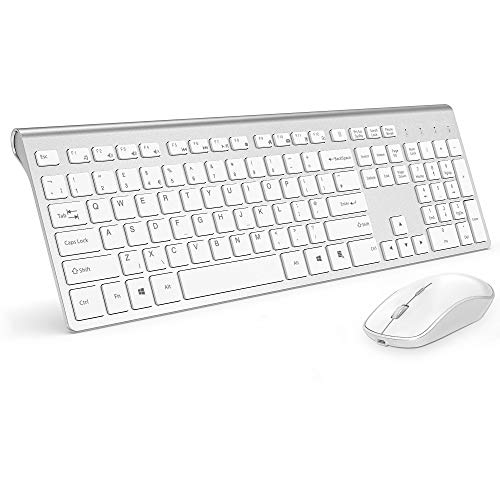 Wireless Keyboard and Mouse,J JOYACCESS Rechargeable Wireless Keyboard Mouse Combo with 500mAh Batteries,Portable Slim,Reliable 2.4Ghz,Silent Ergonomic Mouse for PC/Laptop/Smart TV/Gaming-White Silver