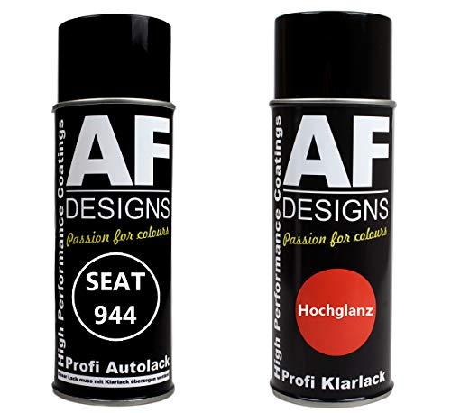 Alex Flittner Designs Autolack Spraydose Set für SEAT 944 Azul Ibiza Basislack Klarlack Sprühdose 400ml