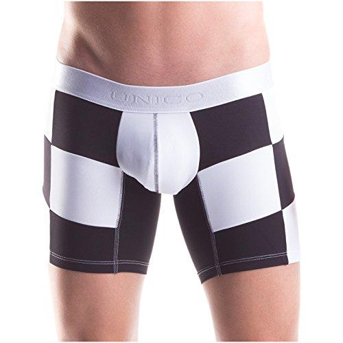 Unico Boxershort Suspensor F1 Microfibre Langes Bein Unterwäsche, Weiß und Schwarz, Gr.S