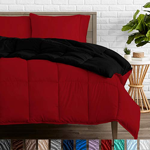 Bare Home Ultra-Soft Premium 1600 Series Goose Down Alternative Reversible Comforter - Hypoallergenic - All Season - Plush Fiberfill (Twin/Twin XL, Black/Red)