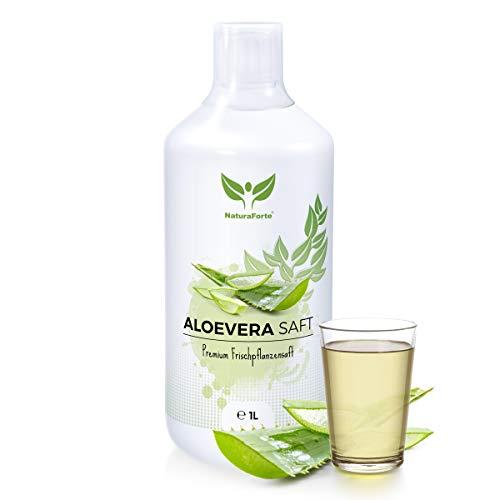 NaturaForte Aloe Vera Saft 1L - Handfiletiert, Premium 100% Direktsaft, 1500mg pro Liter Aloverose, Frischpflanzen-Saft zum Trinken, Aloe barbadensis miller Pflanze