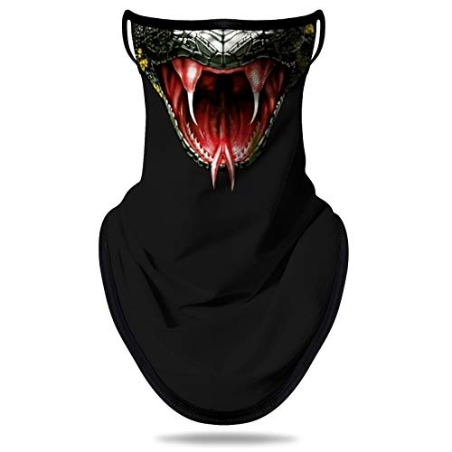 NTBOKW Gaiter Face Mask with Ear Loops Neck Gaiter Face Scarf Ear Loops for Men Women UV Sun Protection Snake Pattern (G0303)