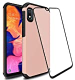 Galaxy A10e Case with 9H Tempered Glass Screen Protector, SunStory Heavy Duty [Dual Layer] Hybrid Shock Proof Protective Rugged Bumper Cover Case for Samsung Galaxy A10e (Rose Gold)