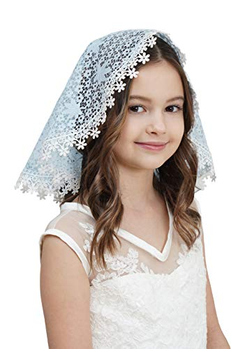 Flowergirl Veils First Communion Veils French Lace Head Covering Mantilla Church Veil F2 (Sky blue)