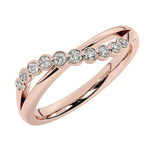 Anillo de eternidad completo con diamantes de corte brillante redondo de 0,15 quilates, en oro rosa de 9 quilates.