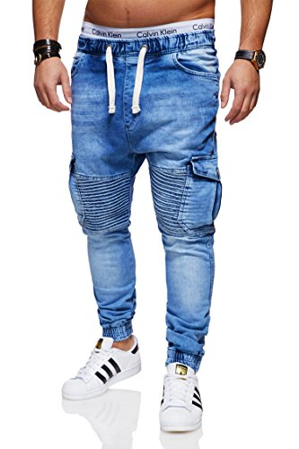 behype. Herren Destroyed Jogg-Jeans Biker Hose 80-2271 Hellblau 32