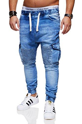 behype. Herren Destroyed Jogg-Jeans Biker Hose 80-2271 Hellblau 34