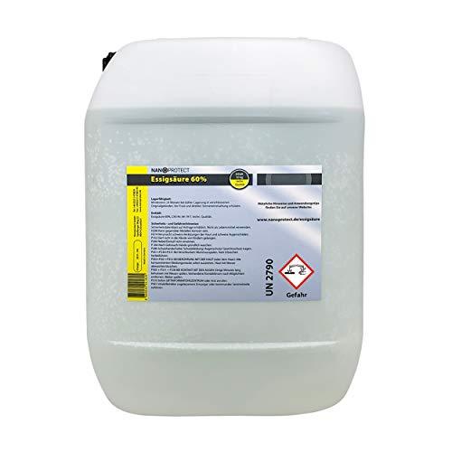 Nanoprotect Essigsäure 60{ee969181ae8237858d6ba186799599a7b61f3d1d05b5122dfe78442c41a2eb60} | 10 kg | Premium Qualität | Deutsche Ware