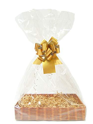 GOUD DIY cadeau mand belemmert Kit - rieten kartonnen lade, Manilla papier, gouden boog, cello tas & gouden geschenklabel (Groot - 35cm x 24cm x8cm hoog)