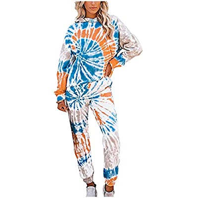 Amazon - Save 80%: Women Casual Tie-dye Printing Two-Piece Outfit Sets Sleepwear Sweatsuits