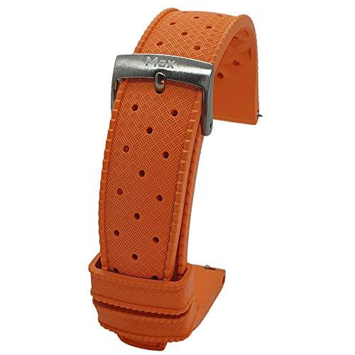 Max Correa de reloj de repuesto para buceadores de caucho de estilo vintage tropical (20 mm, naranja QR)
