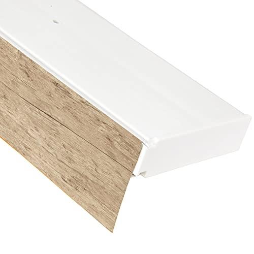 Bestlivings 1-Läufige Vorhangschiene mit Innenlauf aus Kunststoff in 120cm, Kunststoff Blende Sonoma Optik, Gardinenschiene