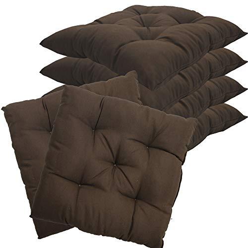 nxtbuy Stuhlkissen 6er Set 38x38 cm Braun - Gepolstertes Sitzkissen für Indoor und Outdoor - in vielen Farben erhältlich