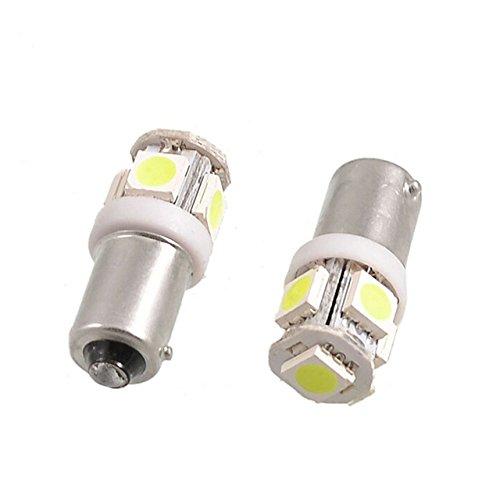 TMT LEDS Lot de 2 ampoules LED Canbus BAX9S H6W 5 LED SMD 5050 Fiches avec angle intérieur Feux de position Clignotants pour voiture et moto Blanc