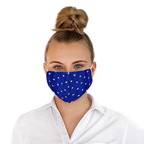 Selente Mascherina viso unisex/Protezione per naso e bocca riutilizzabile in puro cotone, 2 strati TNT blu stelle, Taglia unica