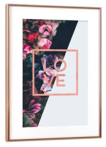 "artboxONE Poster mit Rahmen Kupfer 30x20 cm ""Love Rose Gold Foil Quote"" von Sail and Swan - gerahmtes Poster"