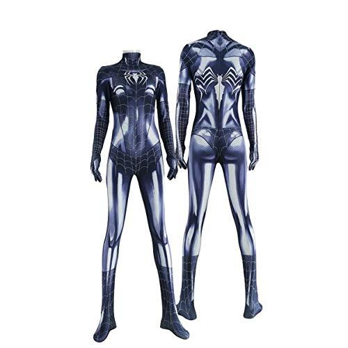 CXYGZLJ Disfraz de Spiderman de Halloween para Mujer, Mono de Spiderman, Leotardo elstico para Cosplay Disfraz Infantil,Black-170