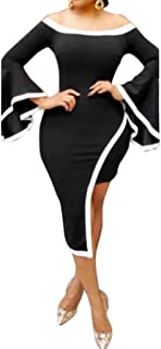 Women's Sexy Asymmetric Hem Flare Bell Sleeve Bodycon Club Party Mini Dress