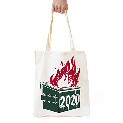 Funny 2020 Dumpster Fire Natural Cotton Reusable Tote Bag Gifts for Women Men | 2020 Eco-Friendly Shopping Bag Shoulder Bag Weekender Bag Gifts for Best Friends Dad Mom