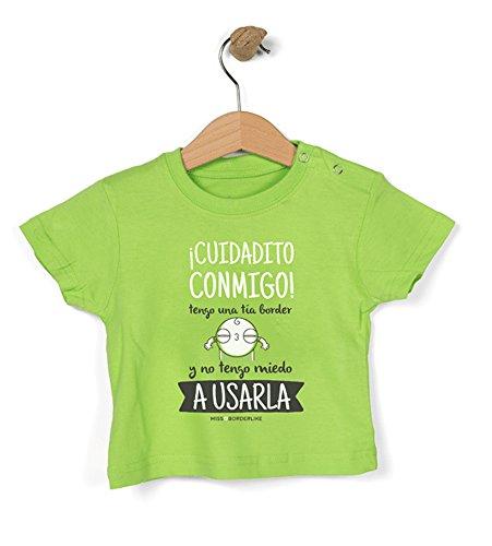 Missborderlike - Camiseta Manga Corta 12 a 18 - ¡Cuidado Conmigo! Tengo una tía Border y no Tengo Miedo a Usarla