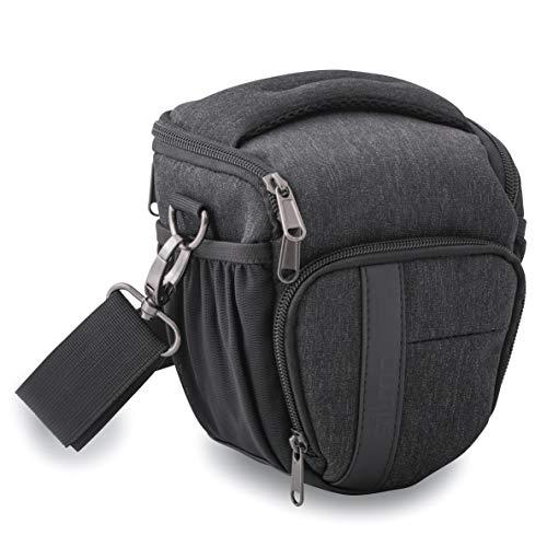 Silmo kompakte Kameratasche mit Regenschutz geeignet für Spiegelreflexkamera, Bridgekamera und Systemkamera, Schnellzugriff, Kamera Tasche in Farbe Schwarz
