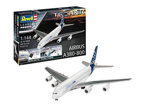 Revell 00453 Technik Airbus A380-800 originalgetreuer Modellbausatz für Experten, mit elektronischen Komponenten, 1:144