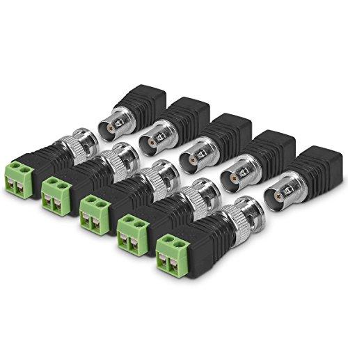 kwmobile Set 5X Conector BNC - 5X BNC Macho y 5X BNC Hembra - Adaptador de Terminal BNC de conexión coaxial para Mini cámara Sistema CCTV