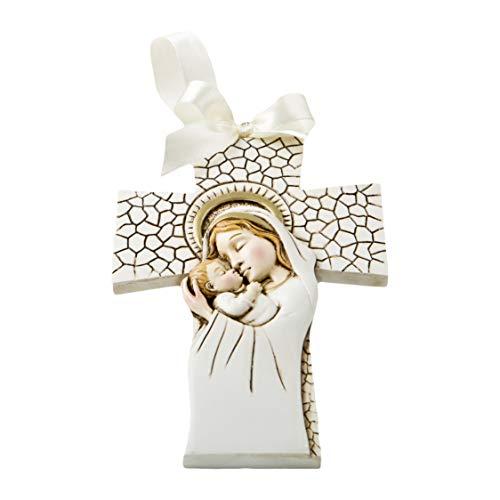 FASHIONCRAFT 8691 Madonna and Child Hanging Cross Ornament, Communion Favor, Baptism Favor (20 Pieces)