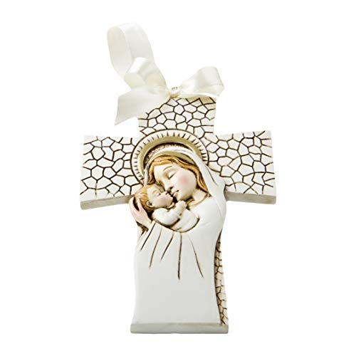 FASHIONCRAFT 8691 Madonna and Child Hanging Cross Ornament, Communion Favor, Baptism Favor (30 Pieces)