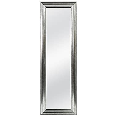 Better Rectangular 53.5-Inch x 17.5-Inch Over-the-Door Mirror in Silver Double Bead, Fits Doors With A Width Up To 1.875