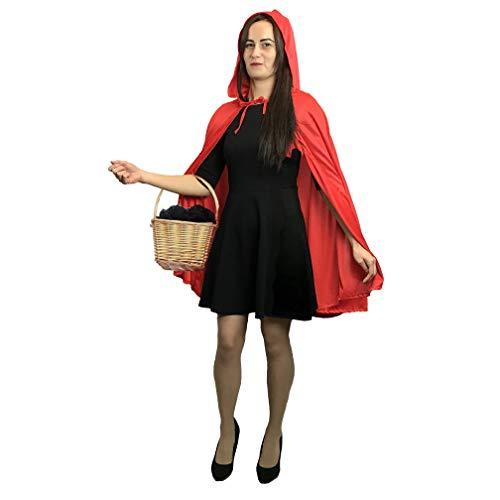 Erwachsene Damen Kurz Rotkäppchen Umhang & Kapuze Mantel Kostümfest