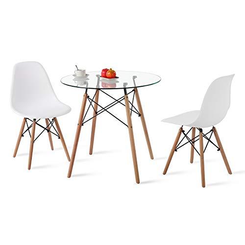 H.J WeDoo Essgruppe mit Rund Glastisch und 2 Stühle Geeignet für Esszimmer Küche Wohnzimmer