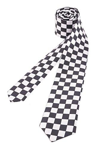 shenky - Corbata estrecha para hombre - Varios colores y motivos - A cuadros - 150 cm de largo
