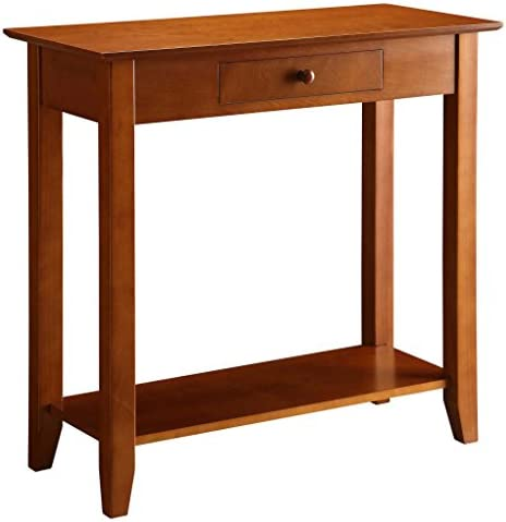 Best Convenience Concepts American Heritage Hall Table with Drawer and Shelf, Cherry
