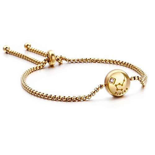 Qings Pulsera chapada en Oro Exclusiva del Zodiaco de Piscis Constelaciones Horóscopo Astrología Ajustable con circonita Brillante para Mujeres y niñas