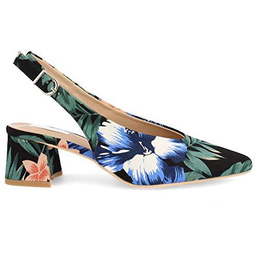 Zapato Salon de Mujer Destalonado Punta Fina con Tejido Estampado Primavera Verano 2019. Talla 38 Negro