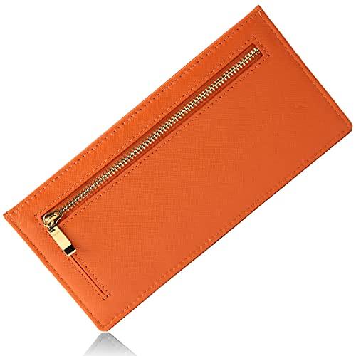 MURA 長財布 財布 本革 レディース 薄型 RFID スキミング防止 旅行 (オレンジ)