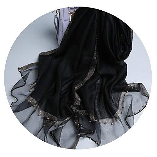 Super-sweet Nueva llegada 70 * 190cm de la bufanda del mantón de las mujeres del invierno del otoño de la bufanda de seda de lana de invierno antumn regalo madre, negro