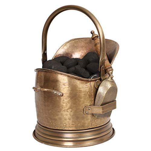 Cubo de carbón estilo antiguo de latón para chimenea